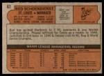 1972 Topps #67  Red Schoendienst  Back Thumbnail