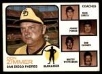 1973 Topps #12 BRN  -  Don Zimmer / Dave Garcia / Johnny Podres / Bob Skinner / Whitey Wietelmann Padres Leaders Front Thumbnail