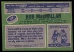 1976 Topps #38  Bob MacMillan  Back Thumbnail