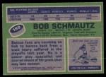 1976 Topps #189  Bobby Schmautz  Back Thumbnail