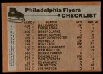 1975 Topps #95   Flyers Team Checklist Back Thumbnail
