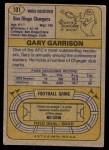 1974 Topps #101 ONE Gary Garrison  Back Thumbnail