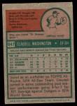 1975 Topps #647  Claudell Washington  Back Thumbnail