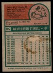 1975 Topps #100  Willie Stargell  Back Thumbnail