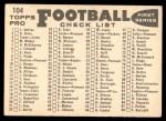 1959 Topps #104   Bears Team Checklist Back Thumbnail