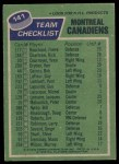1976 Topps #141   Canadiens Team Back Thumbnail