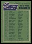 1976 Topps #142   Islanders Team Back Thumbnail