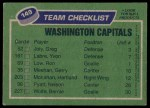 1976 Topps #149   Capitals Team Back Thumbnail