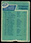1976 O-Pee-Chee NHL #145   Penguins Team Back Thumbnail