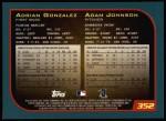 2001 Topps #352  Adrian Gonzalez / Adam Johnson  Back Thumbnail