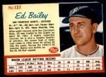 1962 Post #137  Ed Bailey   Front Thumbnail