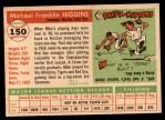 1955 Topps #150  Mike Higgins  Back Thumbnail