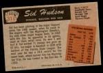 1955 Bowman #318  Sid Hudson  Back Thumbnail