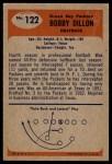 1955 Bowman #122  Bobby Dillon  Back Thumbnail