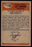 1955 Bowman #123  Leo Sanford  Back Thumbnail