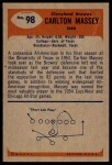 1955 Bowman #98  Carlton Massey  Back Thumbnail