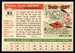 1955 Topps #83  Tom Brewer  Back Thumbnail