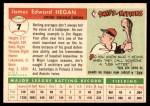 1955 Topps #7  Jim Hegan  Back Thumbnail