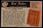 1955 Bowman #134  Bob Feller  Back Thumbnail