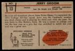 1953 Bowman #13  Jerry Groom  Back Thumbnail