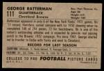 1952 Bowman Large #111  George Ratterman  Back Thumbnail