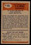 1955 Bowman #72  Y.A. Tittle  Back Thumbnail