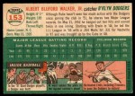 1954 Topps #153  Rube Walker  Back Thumbnail