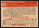 1952 Topps #148 CRM Johnny Klippstein  Back Thumbnail