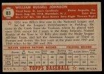 1952 Topps #83  Billy Johnson  Back Thumbnail