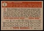 1952 Topps #3  Hank Thompson  Back Thumbnail