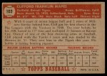 1952 Topps #103  Cliff Mapes  Back Thumbnail