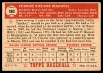 1952 Topps #180 CRM Charley Maxwell  Back Thumbnail