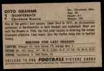 1952 Bowman Large #2  Otto Graham  Back Thumbnail