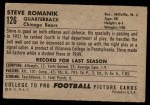 1952 Bowman Large #126  Steve Romanik  Back Thumbnail