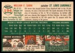1954 Topps #194  Bill Sarni  Back Thumbnail