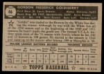 1952 Topps #46  Gordon Goldsberry  Back Thumbnail