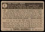 1952 Topps #8  Fred Marsh  Back Thumbnail