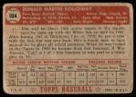1952 Topps #104  Don Kolloway  Back Thumbnail