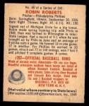 1949 Bowman #46  Robin Roberts  Back Thumbnail
