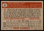 1952 Topps #15  Johnny Pesky  Back Thumbnail