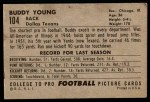 1952 Bowman Large #104  Buddy Young  Back Thumbnail