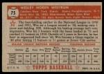1952 Topps #75  Wes Westrum  Back Thumbnail