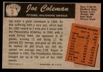 1955 Bowman #3  Joe Coleman  Back Thumbnail