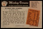 1955 Bowman #46  Mickey Vernon  Back Thumbnail