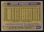 1987 Topps #345  Andre Dawson  Back Thumbnail