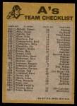 1974 Topps Red Checklist   Athletics Red Team Checklist Back Thumbnail