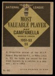 1961 Topps #480   -  Roy Campanella Most Valuable Player Back Thumbnail