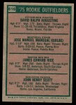 1975 Topps #616   -  Jim Rice / Dave Augustine / Pepe Mangual / John Scott Rookie Outfielders   Back Thumbnail