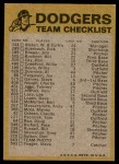 1974 Topps Red Checklist   Dodgers Red Team Checklist Back Thumbnail