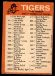 1973 Topps Blue Checklist   Tigers Back Thumbnail